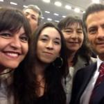 De izquierda a derecha, Magíster Angélica Vera, Dra Ma. Graciela Badilla, Jacqueline Quilodrán, estudiante de postgrado junto al Presidente de México Enrique Peña Nieto en la inauguración del encuentro.